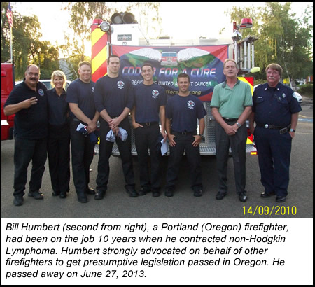 Photo of Firefighter Bill Humbert with fellow Portland firefighters and members of the C3FAC team